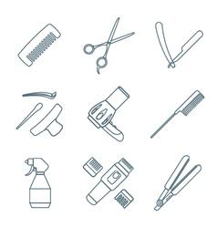 Hairdresser tools dark color outline icons set vector