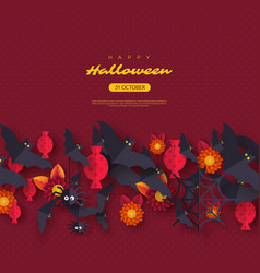 Halloween holiday design with decorative objects vector