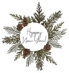 Hand-drawn fir circle wreath frame with pine vector
