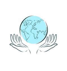 hands carefully keeps globe world travel vector image