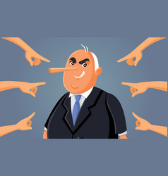 Hands pointing at corrupt lying politician vector