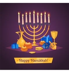 Hanukkah celebration Set of colorful elements vector