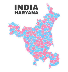 Haryana state map - mosaic of love hearts vector