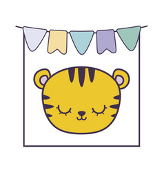 Head cute tiger in frame with garlands hanging vector