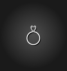 heart ring icon flat vector image