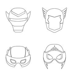Helmet mask on the headmask super hero set vector