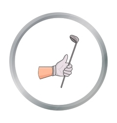 Holding of a golf club icon in cartoon style vector image