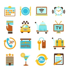 Hotel services flat icons set vector image