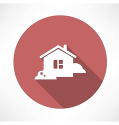 House with shrubs icon vector