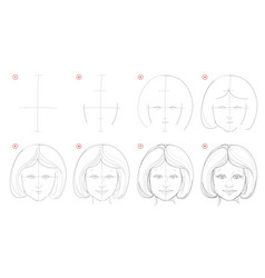 How to draw step-wise imaginary portrait cute vector