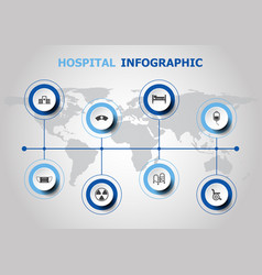 Infographic design with hospital icons vector