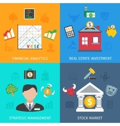 Investment Flat Set vector image
