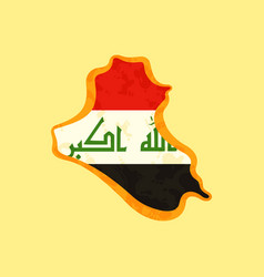 iraq - map colored with iraqi flag vector image