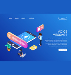 isometric voice message concept people listen to vector image