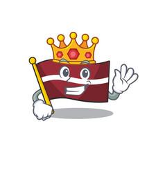 King cartoon flag latvia in with mascot vector