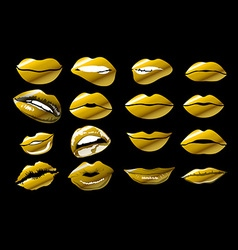 kiss print with gold shimmer vector image
