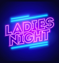 ladies night neon banner vector image