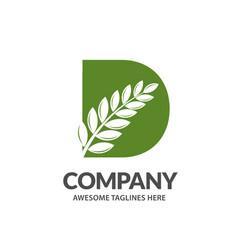 letter d with leaf logo vector image