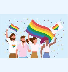 lgbt community together to freedom celebration vector image
