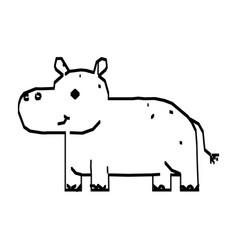 line drawing cute hippo cartoon hand drawn vector image
