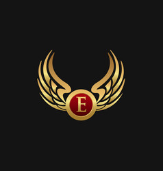 Luxury letter e emblem wings logo design concept vector