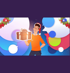 man hold gift box and wear santa hats christmas vector image