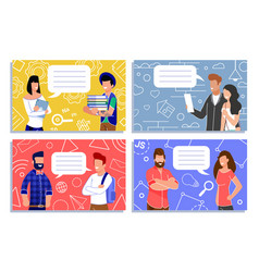 Men and women exchange short notes cartoon set vector