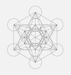 Metatrons cube flower of life sacred geometric vector