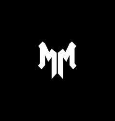 mm logo monogram with shield shape design template vector image