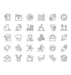 mono line icon set of business and finance theme vector image