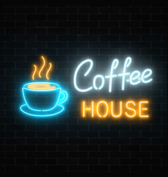 neon coffee house signboard on a dark brick wall vector image