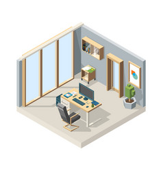 office isometric business interior with furniture vector image