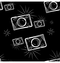 photo camera on chalkboard background vector image