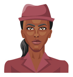 pretty african girl wearing a hat on white vector image