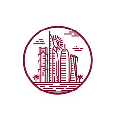 qatar city tower icon vector image