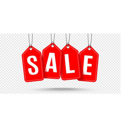 red hanging sales tags realistic vector image