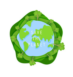Save the planet concept poster in paper art vector