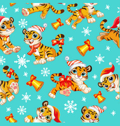 Seamless pattern with baby christmas tigers vector
