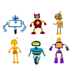 Set of cute colorful retro robot toys vector image