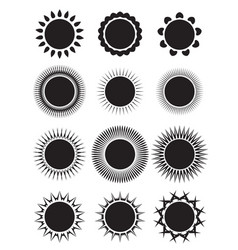 set of icons of suns with different rays element vector image