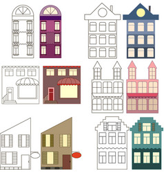 set of outlined and colored houses separated vector image