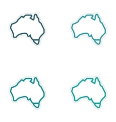 Set of stickers australian map on white background vector