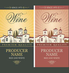 Set of wine labels with european village landscape vector