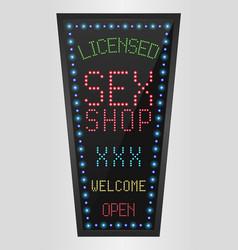 Shining retro light banner licensed sex shop vector