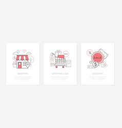 shopping sale - line design style icons set vector image