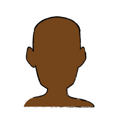 silhouette head man front view portrait vector image