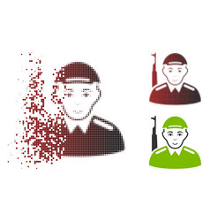 Sparkle pixel halftone soldier icon with face vector