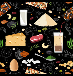 sports and healthy eating nutrition seamless vector image