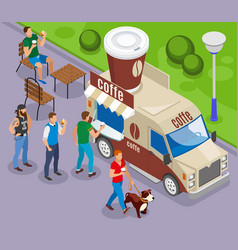 street food coffee isometric composition vector image
