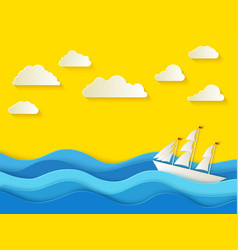 sunny summer day sea background in paper style vector image